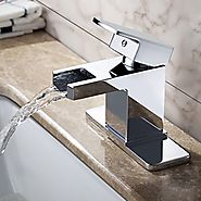 Contemporary Chrome Finish Solid Brass Waterfall Bathroom Sink Faucet
