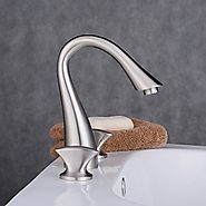 Three Holes Double Knobs Gooseneck Widespread Brushed Nickel Bathroom Sink Faucet