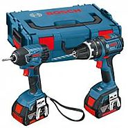 BOSCH 0615990FN4 18 V PROFESSIONAL CORDLESS TWIN KIT (INCLUDES 2 X 4.0 AH LITHIUM ION COOLPACK BATTERIES) 220 VOLTS 5...