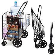 Folding shopping cart with swivel wheels
