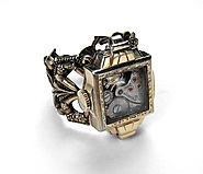 Steampunk Jewelry Womens Ring Vintage 10K Gold Watch Case Ruby Jeweled Mechanism Adjustable Ring GORGEOUS - Steampunk...