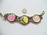Upcycled Watches and Roses Postage Stamps Bracelet,Upcycled Watch Cases and Stamps Bracelet,Vintage Stamps Bracelet,S...