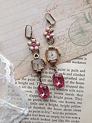 Repurposed mismatched vintage watch cases, watch face earrings, Coro, upcycled, OOAK, unique, vintage pink rhinestone...