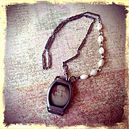 Upcycled Vintage Watch Case Necklace - Steampunk, Repurposed, Watch Chain, Vintage Photo, Mixed Media Jewelry, One of...