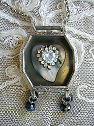 Vintage Elgin Altered Art Watch Case Pendant with Paua Shell & Rhinestones