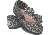 Toms Tiny Mary Jane Infants Shoes (Black Swirl Pattern)