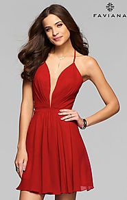 2016 Ruby Lace-Up Back Plunging V-Neck Faviana 7851 Short Chiffon Cocktail Dresses