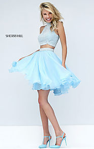 Two-Piece 2016 High-Neck Jeweled Round Ivory/Light Blue Short Homecoming Dresses