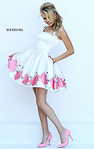 Ivory/Pink V-Back Slim Straps Short Pleated Homecoming Dresses 2016 Floral Print