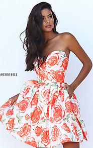 Sweetheart-Neck Short Homecoming Dresses Strapless Orange Floral Print 2016
