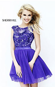 Beaded Bows High Neck Purple Open-Back Short Tulle Pleated Party Dresses Cheap