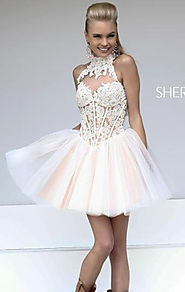 Discount Keyhole Back Blush/Nude Sweetheart Neck Sheer Short Layered Party Dresses