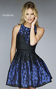 Website at http://www.homecomingdressesshort.com/blackroyal-high-scoop-neck-beaded-open-back-2015-short-homecoming-dr...