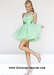 Beaded Lace Bust Light Green Sheer High Neck Party Dress