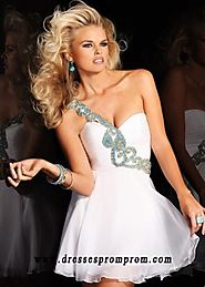 Beaded White Short A Line Ruched One Shoulder Party Dress