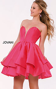 2016 Fuchsia Strapless Jovani 39475 Sweetheart V Neck Short Tiered Cocktail Dresses
