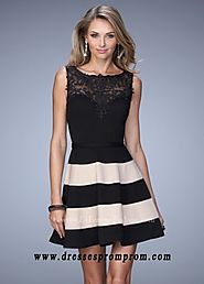 Black Nude La Femme Embroidered Stripes Lace Cocktail Dress