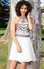 2016 Halter Beaded Bodice High-Neck Short Chiffon Homecoming Dresses By Ivory Shail K. 1085