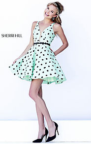 Green/Black Deep V Tulle Neckline 2015 Polka Dot Short Bodice Homecoming Dresses