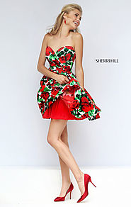 2016 Sherri Hill 50028 Strapless Sweetheart Neck Red Short Floral Print Homecoming Dresses Online Sale