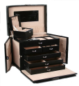 BLACK LEATHER JEWELRY BOX / CASE / STORAGE / ORGANIZER WITH TRAVEL CASE AND LOCK