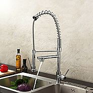 Single Handle Solid Brass Spring Kitchen Faucet with Two Spouts - Chrome Finish