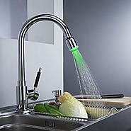 Chrome Finish Solid Brass Kitchen Faucet with Color Changing LED Light