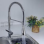 Chrome Finish Solid Brass Spring Kitchen Faucet with Color Changing LED Light