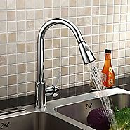 Solid Brass Pull Down Kitchen Faucet - Chrome Finish