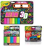 Crayola 3-D Neon Washable Sidewalk Chalk, Neon Glitter Chalk and Chalk Paint Bottleheads