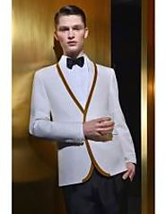 Get An Attractive Look By Wearing White And Burgundy Tuxedo