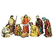 Evergreen 8-Piece Gloria Golden Flourish Outdoor-Safe Nativity Set