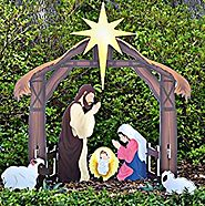 Teak Isle Holy Night Printed Outdoor Nativity Set