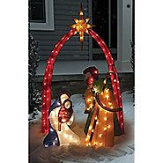 6' TINSEL NATIVITY SCENE CHRISTMAS DECORATION