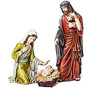 Evergreen 3-Piece Mary, Joseph and Baby Jesus Nativity Outdoor Safe Garden Set