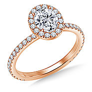 1.00 ct. tw. Oval Cut Diamond Halo Engagement Ring in 14K Rose Gold