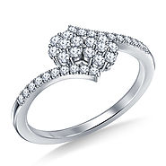 1/2 ct. tw. Diamond Cluster You & Me Engagement Ring with Bypass Design in 14K White Gold