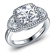 Fancy Diamond Three Stone Engagement Ring with Cushion Cut Center and Half Moon Sides in 14K White Gold