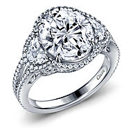 Fancy Cut Three Stone Diamond Halo Engagement Ring in 14K White Gold