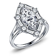 Marquise Split Shank Cathedral Engagement Ring with Baguette Accents in 14K White Gold