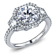 Fancy Diamond Three Stone Trapezoid, Round Halo Engagement Ring in 14K White Gold