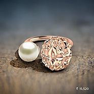 Sphere Filigree Ring - Set in 18 Kt Rose Gold (4.64 gms) and pearl Certified by SGL