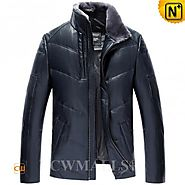 CWMALLS® Mens Leather Down Jackets CW807039
