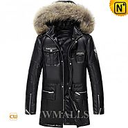 CWMALLS® Boise Patent Design Hooded Leather Down Coat CW890001