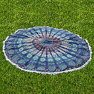 Blue Peacock Designs Round Beach Throw