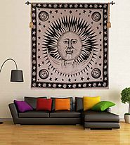 Wall Hanging Black Sun & Moon Wall Tapestry