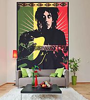 Bob marley with guitar hippie wall tapestry