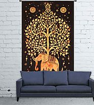Wall hanging black and orange elephant tapestry