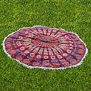 Colorful Printed Elephant of Round Beach Blanket