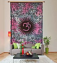 Stylish om printed indian pink mandala wall hanging